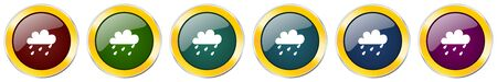 Rain symbol icon set on white