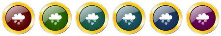 Snow symbol icon set on white Ilustração