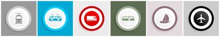 Transportation symbol icon set on white