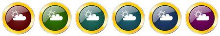 Cloud symbol icon set on white
