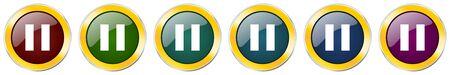 Pause symbol icon set on white