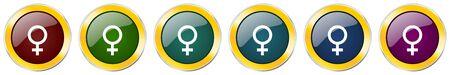 Female symbol icon set on white