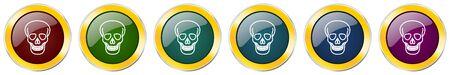 Skull symbol icon set on white