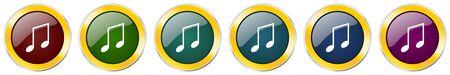 Music symbol icon set on white Ilustração