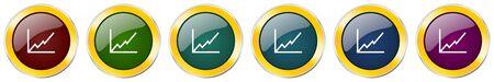 Chart symbol icon set on white