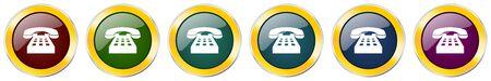 Phone glossy icon set on white 矢量图片