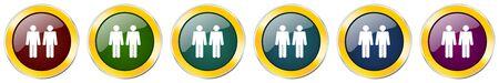 Couple glossy icon set on white Ilustração