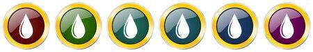 Water drop glossy icon set on white Ilustração