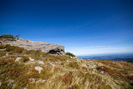 Rocks in Polish Beskid mountains near Diablak Mountain