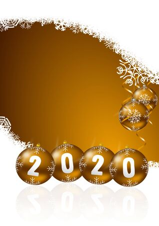 New years 2020 greeting card with golden christmas balls and snowflakes with empty copy space for your text
