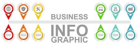 Business diagram, vector timeline infographic template, web presentation in 6 options