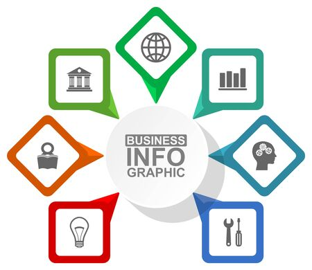 Business diagram, vector circular infographic template, web presentation in 7 options