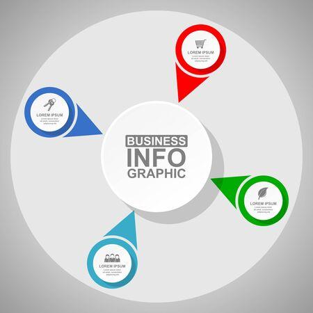 Schemat biznesowy, okrągły szablon infografiki, prezentacja internetowa w 4 opcjach, ilustracja wektorowa