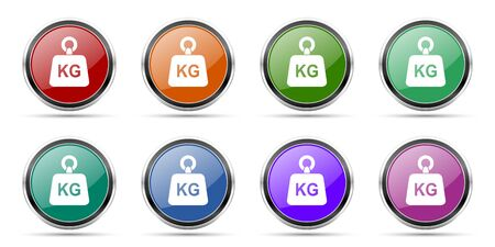 Weight, kg, kilogram icons, set of round glossy web buttons with silver metallic chrome borders isolated on white background in 8 options