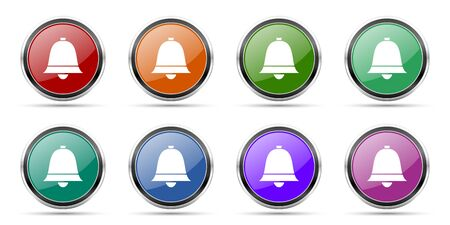 Bell, ring, alarm icons, set of round glossy web buttons with silver metallic chrome borders isolated on white background in 8 options