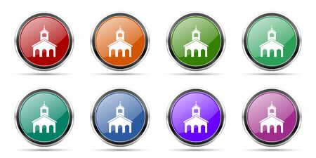 Religion, church icons, set of round glossy web buttons with silver metallic chrome borders isolated on white background in 8 options