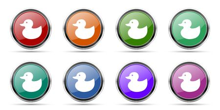 Duck toy, bird icons, set of round glossy web buttons with silver metallic chrome borders isolated on white background in 8 options