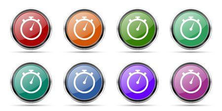 stopwatch icons, set of round glossy web buttons with silver metallic chrome borders isolated on white background in 8 options