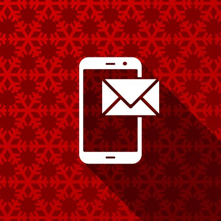 Smartphone flat design christmas and winter concept vector icon with snowflakes Фото со стока - 135280423