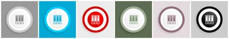Binder icon, folder, document, file vector illustrations in 6 colors options for web design and mobile applications in eps 10 Ilustração