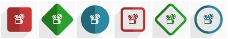 Movie icon set, flat design vector illustration in 6 options for webdesign and mobile applications