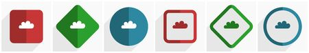 Cloud icon set, flat design vector illustration in 6 options for webdesign and mobile applications