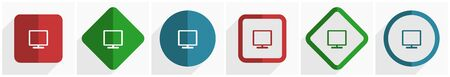 Tv icon set, flat design vector illustration in 6 options for webdesign and mobile applications