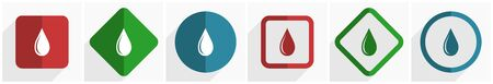 Water drop icon set, flat design vector illustration in 6 options for webdesign and mobile applications 일러스트