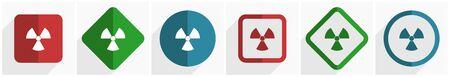 Radiation icon set, flat design vector illustration in 6 options for webdesign and mobile applications Illustration