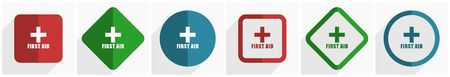 First aid icon set, flat design vector illustration in 6 options for webdesign and mobile applications