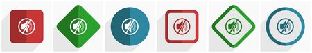 Mute icon set, flat design vector illustration in 6 options for webdesign and mobile applications in eps 10 Ilustrace
