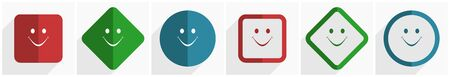 Smile icon set, flat design vector illustration in 6 options for webdesign and mobile applications in eps 10 Ilustracja