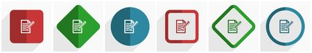 Subscribe icon set, flat design vector illustration in 6 options for webdesign and mobile applications in eps 10