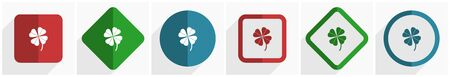 Four-leaf clover icon set, flat design vector illustration in 6 options for webdesign and mobile applications in eps 10 Archivio Fotografico - 138152039