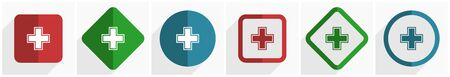 Pharmacy icon set, flat design vector illustration in 6 options for webdesign and mobile applications in eps 10 Illusztráció