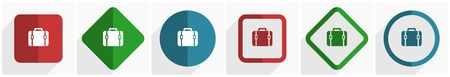 Bag icon set, flat design vector illustration in 6 options for webdesign and mobile applications in eps 10 Çizim