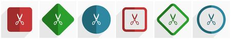 Scissors icon set, flat design vector illustration in 6 options for webdesign and mobile applications in eps 10 일러스트