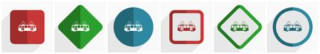 Tram icon set, flat design vector illustration in 6 options for webdesign and mobile applications in eps 10 Vectores