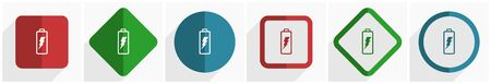 Battery icon set, flat design vector illustration in 6 options for webdesign and mobile applications in eps 10 矢量图像