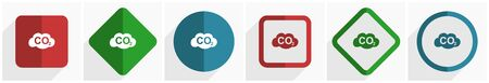 Carbon dioxide icon set, flat design vector illustration in 6 options for webdesign and mobile applications in eps 10