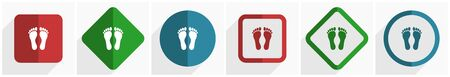 Foot icon set, flat design vector illustration in 6 options for webdesign and mobile applications in eps 10