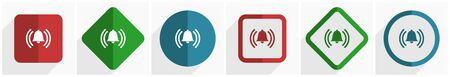 Alarm-Icon-Set, flache Design-Vektor-Illustration in 6 Optionen für Webdesign und mobile Anwendungen in eps 10 Vektorgrafik