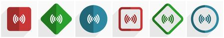 Wifi icon set, flat design vector illustration in 6 options for webdesign and mobile applications in eps 10