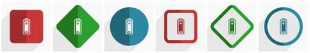 Battery icon set, flat design vector illustration in 6 options for webdesign and mobile applications in eps 10 Ilustrace