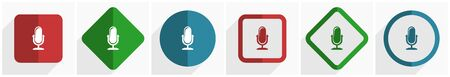 Microphone icon set, flat design vector illustration in 6 options for webdesign and mobile applications in eps 10 Illustration