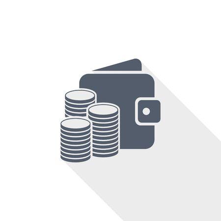 Money vector icon, cash, wallet, business concept flat design illustration