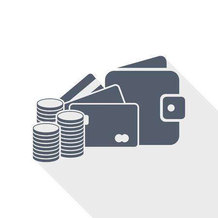 Money vector icon, credit cards, wallet, business concept flat design illustration