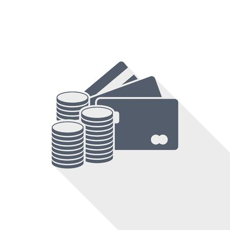 Money vector icon, credit cards, business concept flat design illustration Zdjęcie Seryjne - 139599769