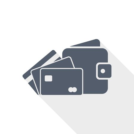 Wallet and credit cards vector icon, business concept flat design illustration Ilustracja