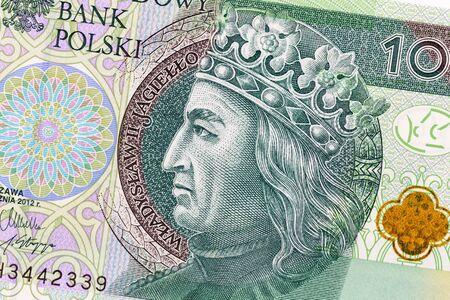 Polish currency money bill one hundred zloty. Macro crop portrait of King of Poland Wladyslaw II Jagiello